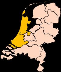 Mapa que destaca las regiones de Holanda del Sur y Holanda del Norte.